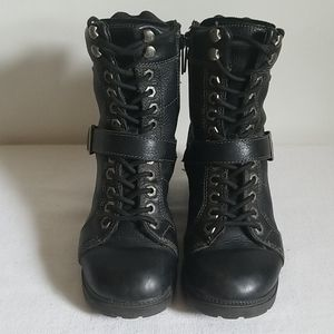 Harley Davidson Pebbled Leather Lace up Moto Boot